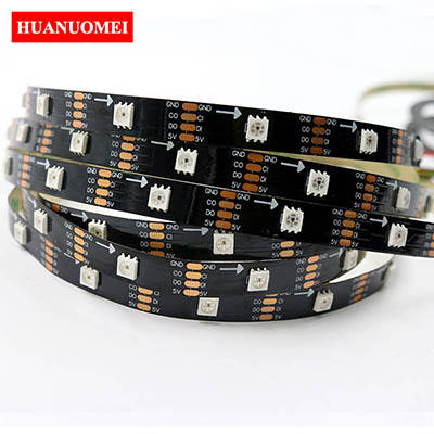 5V APA107 LED Strip Light APA102 5050 SMD RGB Digital Strips Ambilight TV Lights 30LEDs/m 5M/Roll Black PCB Non-waterproof IP20