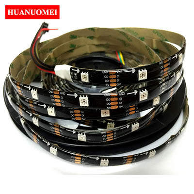 5V 30LEDs APA102 LED Strip Waterproof IP65 Flexible Black PCB TV LED Tape 30Pixels/m 5M/Roll 5050 SMD RGB LED Light Strips Lamp