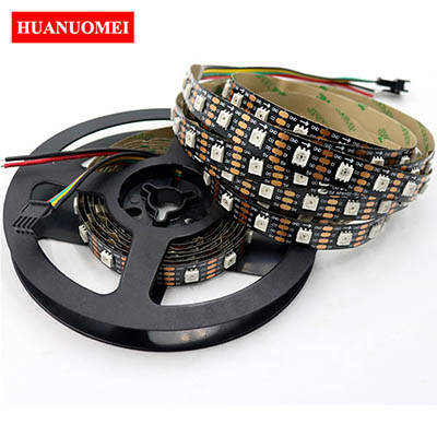 5M APA107 RGB LED Strip 5050 SMD 60LEDs/m 60Pixels/m IP20 Addressable RGB Strip LED Light 5V DATA and CLOCK Seperately Black PCB