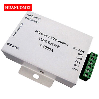 T-1000A LED Pixel Controller SD Card Full Color LED Controller DC5-24V Support WS2801 LPD6803 WS2811 WS2812B UCS1903 TM1804 etc.